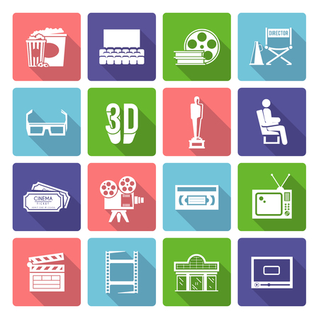 movie projector: Cinema and film industry flat long shadow icons set isolated vector illustration