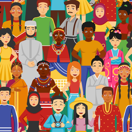 Nations and races with Asian Arabic and European people flat seamless illustration