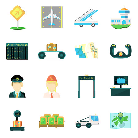 screening: Airport safety custom  service baggage scanner and passengers screening  flat icons set abstract isolated  vector illustration