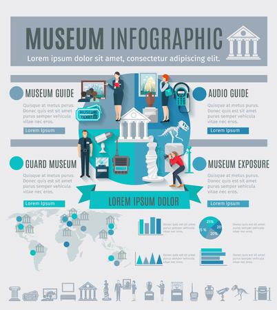 arts symbols: Museum infographics set with arts symbols and charts vector illustration Illustration