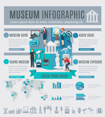 Museum infographics set with arts symbols and charts vector illustration Illustration