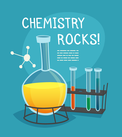 Chemical laboratory cartoon concept with flask  tubes and molecule model vector illustration