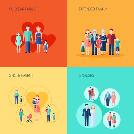 familias jovenes: Conjunto de dise�o de 2x2 de la familia nuclear, familia extendida monoparentales y c�nyuges ilustraci�n vectorial Vectores