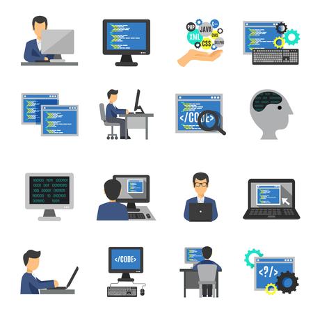 プログラマーとコンピューターのプログラム開発のフラット アイコン設定分離ベクトル イラスト