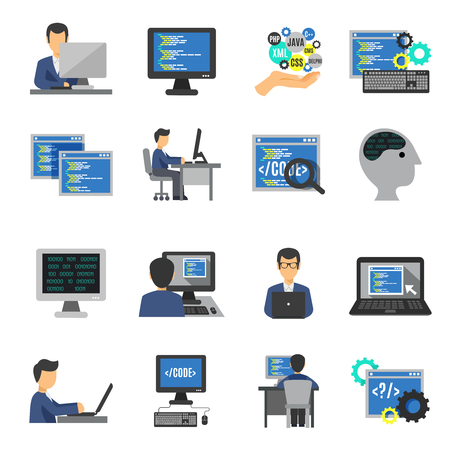 computer programmer: Programmer and computer programs development icons flat set isolated vector illustration Illustration