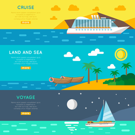 voyage: Sea cruise voyage and land excursions vacation tour 3 flat horizontal banners set abstract isolated vector illustration