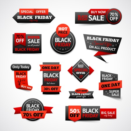 prices: Black friday sale and discounts labels set isolated vector illustration