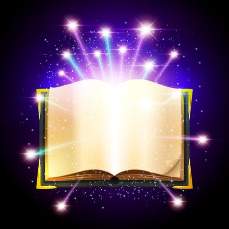 空白のシートと輝く魔法の開いた本火花ベクトル図