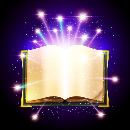 Open book with blank sheets and shining magic sparks vector illustration
