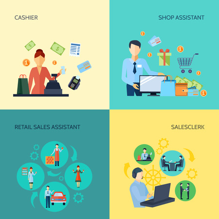 retail sales: Design 2x2 set of cashier salesclerk shop assistant and retail sales assistant flat vector illustration Illustration