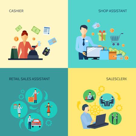 retail sales: Design 2x2 set of cashier salesclerk shop assistant and retail sales assistant flat vector illustration Illustration