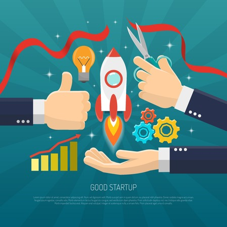 ribbon cutting: Startup concept flat with rocket and hands cutting red ribbon vector illustration