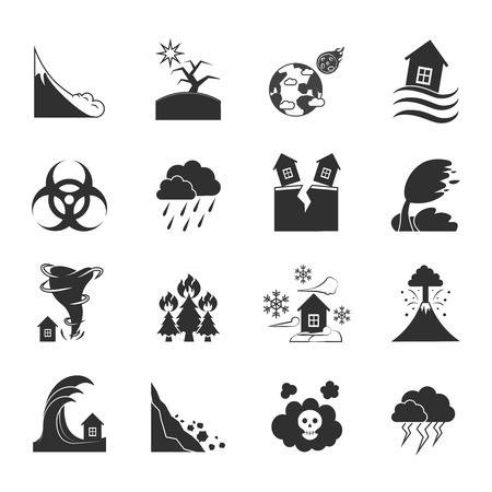 Los desastres naturales y los efectos negativos iconos Conjunto drenado en estilo plano ilustración vectorial blanco y negro