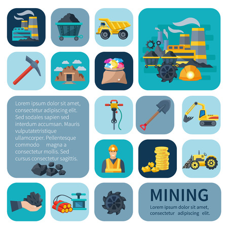 Mining icons flat decorative set with industrial plant and machinery isolated vector illustration Illustration