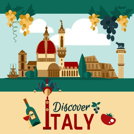 touristic: Italy touristic poster with historical landmarks and food symbols vector illustration