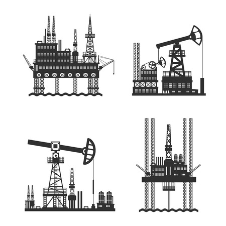 mining ships: Oil and petroleum platform black and white isolated vector illustration