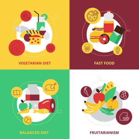 alimentacion balanceada: Alimentos y bebidas concepto de diseño iconos conjunto con una dieta equilibrada dieta vegetariana comida rápida y fruitarianism plana aislados ilustración vectorial