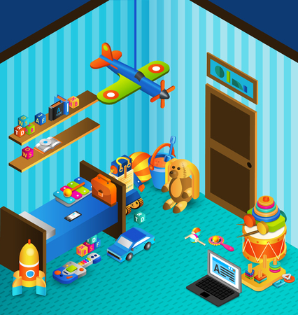 playroom: Child playroom concept with isometric bed and isometric toys vector illustration Illustration
