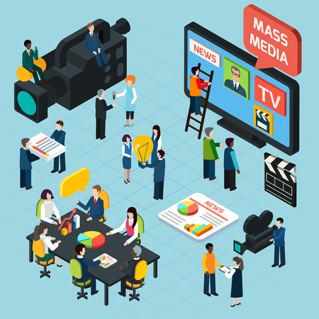 medios de comunicación social: Los medios de comunicación isométrica concepto de diseño conjunto con periodistas que preparan los operadores de materiales informativos de trabajo con la cámara y entrevistador ilustración vectorial Vectores