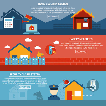 home security: Home security wireless alarm system installation company 3 horizontal interactive flat homepage banners abstract isolated vector illustration Illustration
