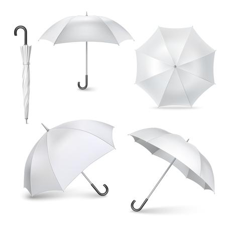Jasnoszare parasolki i parasole na stanowiskach Vaus otwierane i składane piktogramy Kolekcja realistyczne izolowane ilustracji wektorowych