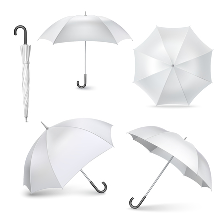 pictogram: Light gray umbrellas  and parasols in various positions  open and folded pictograms collection realistic  isolated vector illustration