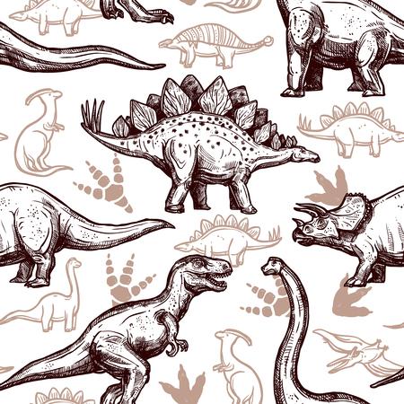 esqueleto: Dinosaurios prehistóricos reptiles con huellas en el fondo sin patrón envoltura de papel de dos colores estilo de dibujo ilustración abstracta