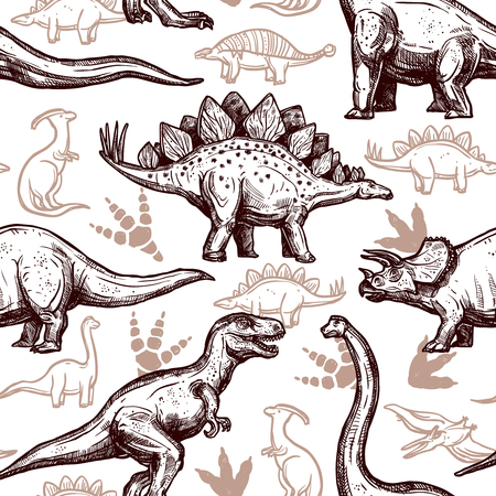 animal fauna: Prehistoric dinosaurs reptiles with footprints on background seamless wrap paper pattern two-color doodle style abstract vector illustration