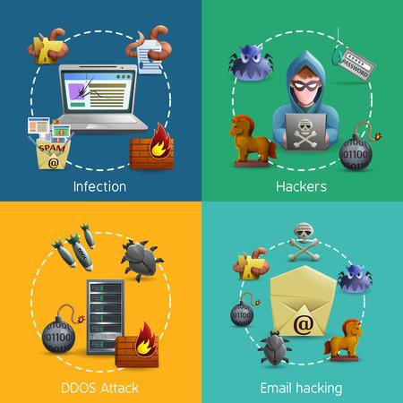 gusano caricatura: virus de spam ataque cibernético de hackers y correo electrónico de los iconos de la ilustración del vector del concepto