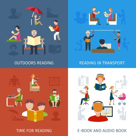 personas leyendo: People reading design concept set with e-book and audio books icons isolated vector illustration