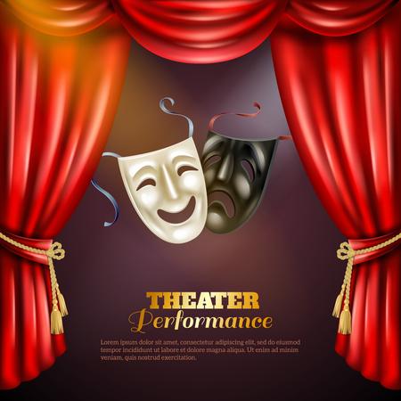 teatro mascara: Representación teatral de fondo realista con la ilustración de comedia y tragedia máscaras de vectores Vectores