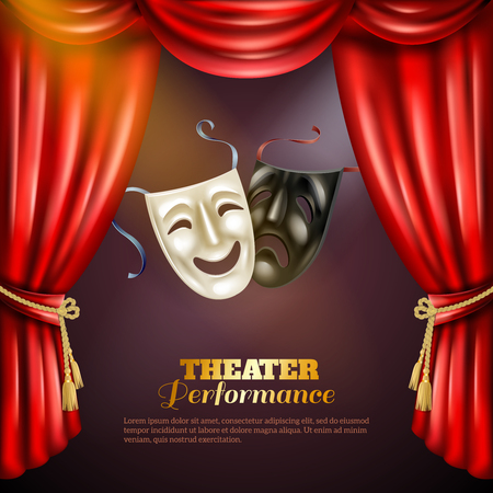 red theater curtain: Theatre performance realistic background with comedy and tragedy masks vector illustration Illustration