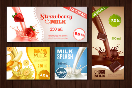 Sweet tasty milk with different flavours realistic banners set on wood isolated vector illustration Illustration
