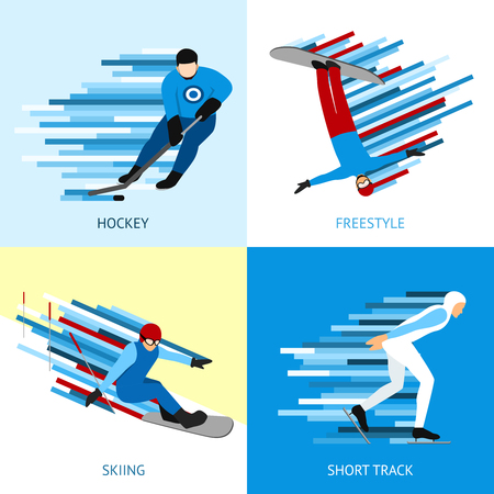 snow track: Winter sportsman design concept set with hockey freestyle short track flat icons isolated vector illustration