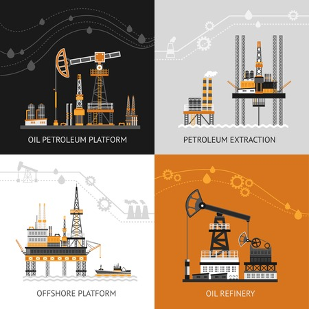mining ship: Oil platform design concept set with petroleum flat icons isolated vector illustration Illustration