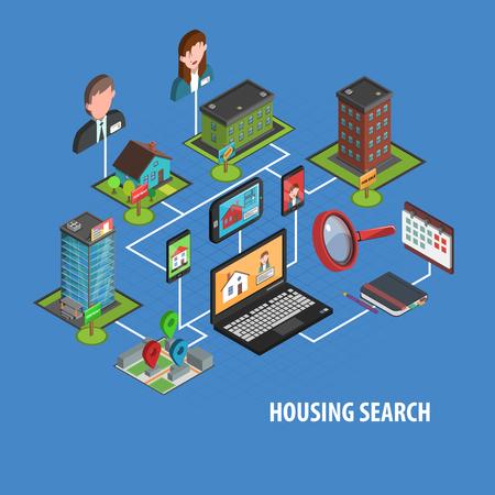 conclusion: Concepto de bienes raíces de búsqueda con el cuaderno isométrico y casas iconos ilustración vectorial