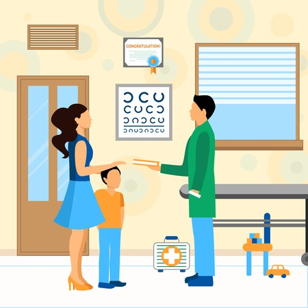 stethoscope boy: Child with mom and pediatrician doctor in hospital flat vector illustration
