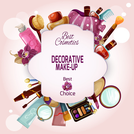 Il concetto di trucco con i cosmetici femminili decorativi ed i prodotti di bellezza ha messo l'illustrazione di vettore Archivio Fotografico - 48259180