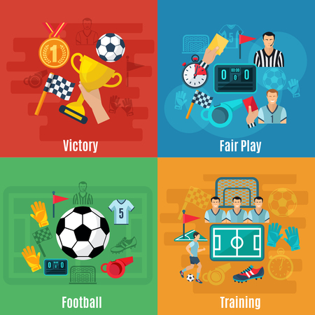 soccer sport: Soccer design concept set with victory football and training flat icons isolated vector illustration Illustration