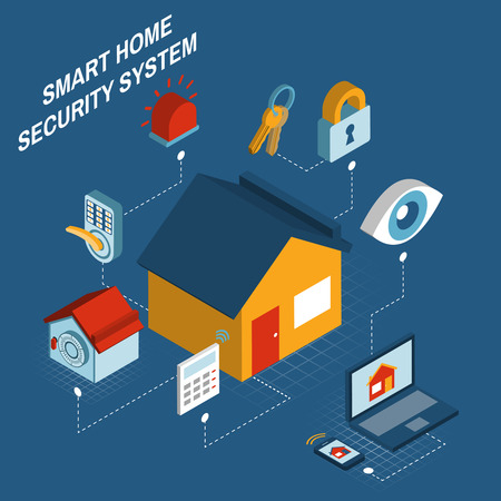 computerized: Smart home security alarm computerized remote control system concept poster with house symbol isometric abstract vector illustration
