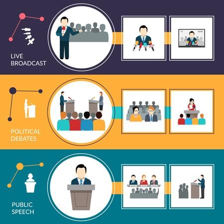 public speaking: Public speaking horizontal banner set with political debates elements isolated vector illustration