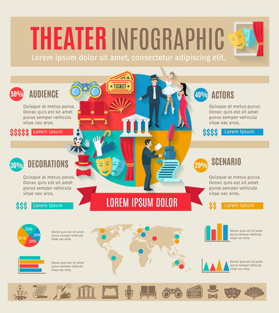 theater audience: Theater infographics set with drama play symbols and charts vector illustration Illustration