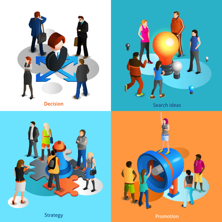 business symbols: Business people isometric icons set with decision search ideas strategy and promotion symbols isolated vector illustration