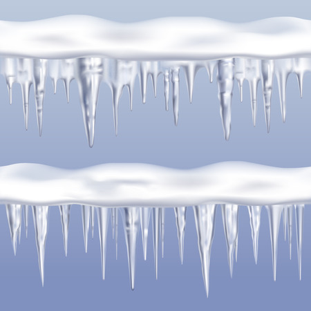 Icicles tileable borders set on blue background realistic isolated vector illustration Illustration