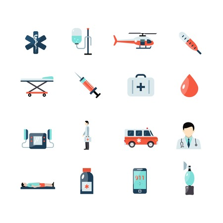 paramedic: Emergency paramedic icons set with first aid symbols isolated vector illustration