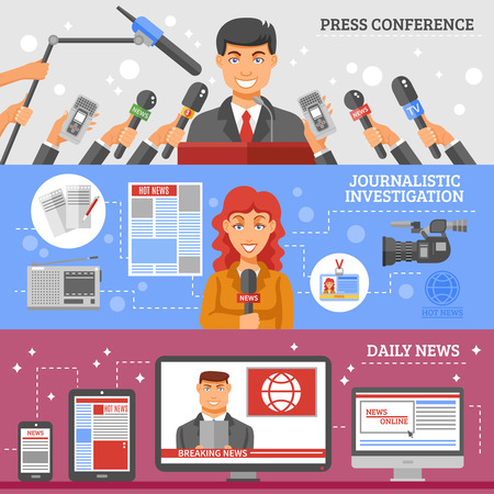 hot news: Mass media horizontal banners set with press conference journalistic investigation and daily news symbols flat isolated vector illustration