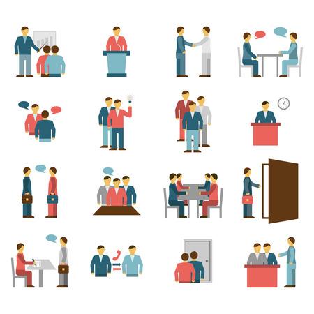 Los iconos de color plana personas reunión de diálogo interacción aislados ilustración vectorial.