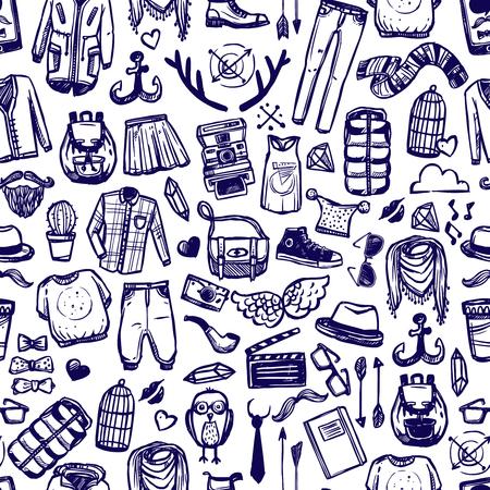 Hipster levensstijl onderscheidende mode kleding en accessoires decoratieve naadloze tileable patroon van donkere marine doodle abstracte illustratie
