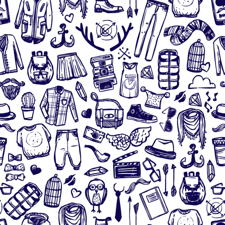 distinctive: Hipster lifestyle distinctive fashion clothing and accessories decorative seamless tileable pattern dark marine doodle abstract vector illustration
