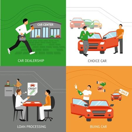 자동차 선택 과정 플랫 아이콘 설정 자동차 대리점 디자인 개념은 고립 된 벡터 일러스트 레이 션 설정